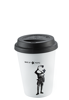 Coffee Island Premium Mug (wake up people-380ml-black lid)
